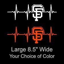 San Francisco Giants Heartbeat Large 8.5 Inch Vinyl Decal Sticker - 49ers - Car