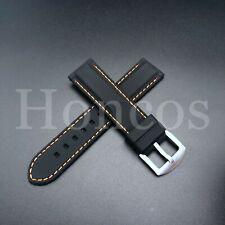 20 MM Black Rubber Silicone Soft Watch Band Strap Heavy Duty Orange Stitching