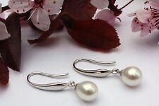 YR2 VERO perle d'acqua dolce GIOIELLO Orecchini pendenti in argento 925 NUOVO