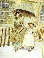 Hugh Thomson LADY & HER MAID w UMBRELLA in SNOW QUALITY STREET 1913 Print Matted