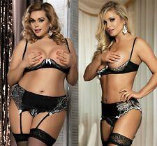 Ladies 1/4 Cup Bra Set Suspenders Belt G-String Satin Soft 12 14 16 18 20 22