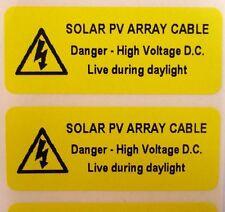 ETICHETTE di avvertenza sicurezza elettrica-Solare Fotovoltaico Cavo-Giallo 50mm x 20mm