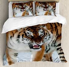 Tiger Duvet Cover Set with Pillow Shams Siberian Predator Feline Print