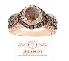 Brandy Diamond® Chocolate Brown 10K Rose Gold  Diva Halo Solitaire Bridal Ring