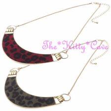 Unusual Furry Fur Punk Rock Gold Animal Leopard Cheetah Wild Half Moon Necklace