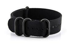 ZOULOU PVD Watchband Bracelet pour montre nylon Militaire Noir Extra Fort 22mm
