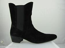 Retro Mens Lennon Hi Black Suede Beat Cuban Heel Beatle Boots Handmade Pointed