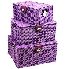 Resina viola cucita Ostacolare Cestello Storage Box Con Coperchio & Lock in 3 dimensioni idealgift