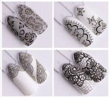 Nail Art Water Decals Transfer Stickers-Bianco Nero-PIZZO-Decorazione Unghie !