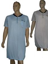 2-er Pack Herren Nachthemd kurzer Arm Schlafshirt Knopfleiste Baumwollmischung