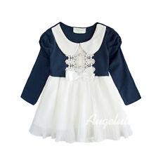 Baby Girls Long Sleeve Bodysuit Peter Pan Collar Dress Navy/White Size 0/1/2