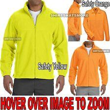 MENS Warm Polar Fleece Jacket Safety Green Orange S, M, L, XL, 2XL, 3XL, 4XL NEW
