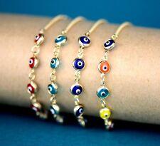 14k Yellow Gold White Gold Evil Eye Bracelet