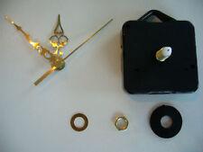 CLOCK MOVEMENT  QUARTZ MEDIUM SPINDLE 60MM GOLD HANDS