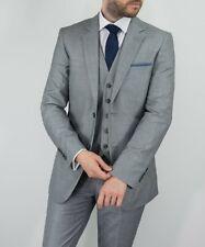 Mens Cavani Reegan Plain Grey 3 Piece Suit Formal Weddings Prom Fashion