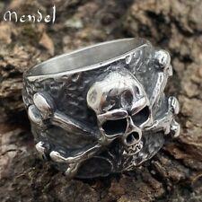 MENDEL Gothic Mens Skull And Bones Biker Ring For Men Stainless Steel Size 7-15