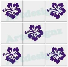 Hibiscus Flor Floral Cocina Baño Azulejo de la Pared Vinilo Calcomanía Pegatinas Transferencia