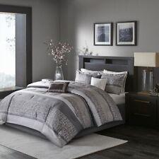 7pc Silver Grey Woven Jacquard Comforter Set AND Decorative Pillows