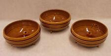 Vintage 3 Retro Bowls W/ Legs  Brown Glaze Strip Design