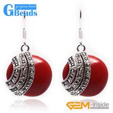 Fashion 28mm Coin Beads Tibetan Silver Dangle Earrings 1 Pair for Christmas Gift