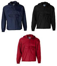 Club Sports Packable Half-Zip Pullover Jacket Size S-3XL Hooded Rain Coat Jumper