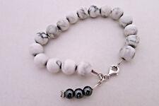 Howlite Beaded Bracelet on Sterling Silver Chain Hematite Bead Tassel All Sizes