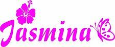 Wand-Aufkleber-Name mit Hibiskusblüte & Schmetterling- 20cm Breite - Artikel 903