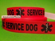 "Grosgrain Ribbon Service Dogs Guide Dogs Medical EMS Symbol Help Handicap 7/8"""