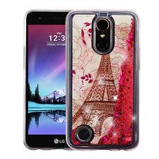 for LG K20 Plus / K10 (2017) PINK PARIS Bling Hybrid Liquid Glitter case Cover