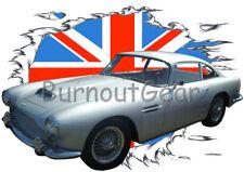 1965 Silver Aston Martin DB4 Custom Hot Rod UK T-Shirt 65 Muscle Car Tee's