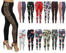 New Ladies Womens Printed Skinny Full Length Stretchy Trouser Leggings Size 8-14