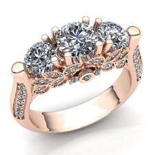 Natural 1.5ct Round Cut Diamond Ladies 3Stone Proposal Engagement Ring 18K Gold
