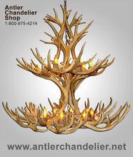 REAL ANTLER MULTI TIER MULE DEER CHANDLIER ,12 LAMPS, RUSTIC LIGHTING, MD2TR