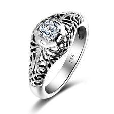 Vintage 925 sterling silver ring Gemstone engagement wedding White Topaz  rings