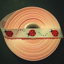"7/8"" Pink Ladybug Grosgrain Ribbon by the Yard (USA SELLER!)"