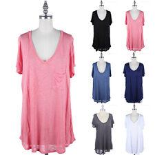 Junior Plus Size- V Neck Top with Chest Pocket Short Sleeve T Shirt 1XL 2XL 3XL