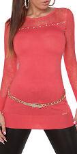 Sexy KouCla Pullover Strickkleid Longpulli Sweater Strass Spitze, 34/36/38