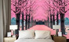 3D Pink Tree Avenue 74 Wall Paper Murals Wall Print Wall Wallpaper Mural AU Kyra