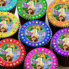 1ST Buon Compleanno Giungla Animali età 1 Decorazioni Commestibili Cupcake Topper