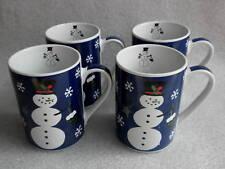 Christmas Coffee Mug x 4 Snowman Snowflakes on Dark Blue Holiday Tall Slim 4in