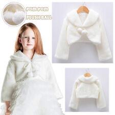 Baby Kids Girls Fur Shrug Shawl Wrap Bridesmaid Wedding Long Sleeve Cloak Cape