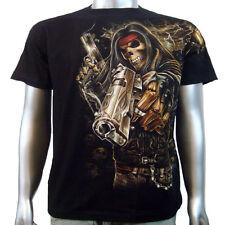 Skull Gangsta Remington Pistol Handgun Biker Chopper Tattoo Mens T-shirt M & L