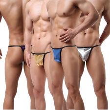 Men's Underwear G-string T-back Thongs PU cuir jock strap shiny Caleçon