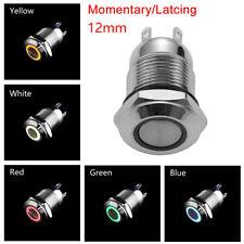 12V 24V 110V 220V ON/OFF Push Momentary/Latching 12mm LED Metal Button Switch