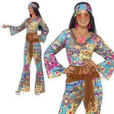 Blue Flower Power Hippy Costume Ladies 60s 70s Fancy Dress Outfit UK 8-14