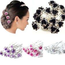 Fashion Engagement Bridal Wedding Flower Hairpins Crystal Hair Clips Rhinestone