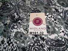 "Cloud Grey Paisley printed chiffon fabric 44"" wide M161-32 Mtex"