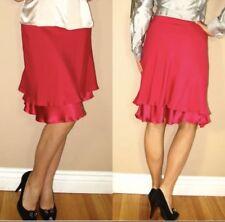 New $532 Les Copains Fuschia Pink Stretch Silk Ruffle Knee-Length Skirt 6 8 10
