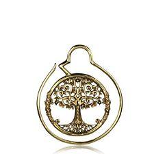 PAIR BRASS TREE OF LIFE HOOPS SPIRALS GAUGES HOOP EARRINGS PLUGS EXPANDERS