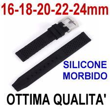 CINTURINO OROLOGIO SILICONE 16mm 18mm 20mm 22mm 24mm NERO GOMMA BUCHERELLATO